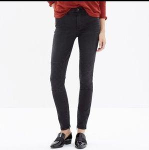 madewell skinny skinny black zipper moto jeans